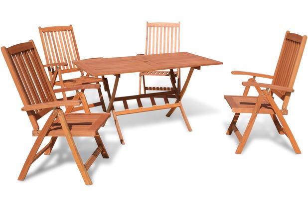 Grasekamp Gartenmöbelgruppe Santos 5 teilig  Holz Sitzgruppe Essgruppe Natur