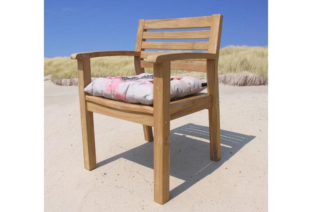 grasekamp gartenstuhl sessel teakstuhl teak holz stuhl mit armlehne und sitzkiss ebay. Black Bedroom Furniture Sets. Home Design Ideas
