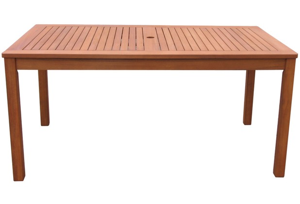 Grasekamp Gartentisch 160x90cm Natur Holztisch  Tisch Gartenmöbel Eukalyptus Natur
