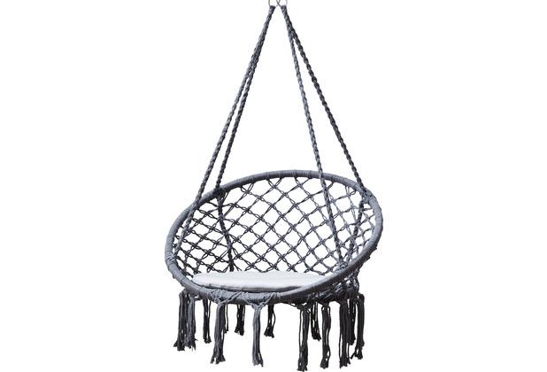Grasekamp Hängesessel Mora Grau mit Sitzkissen  Belastbarkeit max. 100kg Schwebesessel Grau