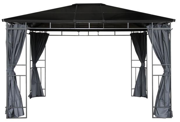 Grasekamp Hardtop Pavillon Limone 3x3,6m inkl.  Seitenteile - Doppelstegplatten  Hohlkammer Polycarbonat braun/anthrazit