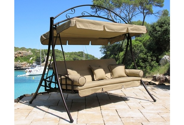 grasekamp hollywoodschaukel mit schutzh lle klappbar als liege relaxliege schaukel gartenliege. Black Bedroom Furniture Sets. Home Design Ideas