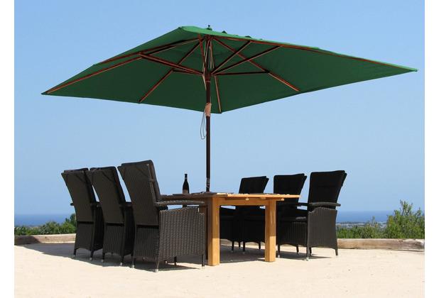 Grasekamp Holz Sonnenschirm 300x300cm Polyester  Grün Gartenschirm Sonnenschutz UV50+  Quadratisch Grün