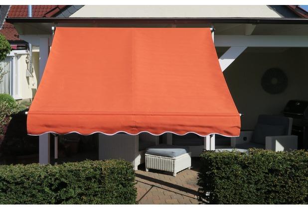 Grasekamp Klemmmarkise Ontario 200x130cm Orange  Balkonmarkise höhenverstellbar von 200  cm – 320 cm Orange