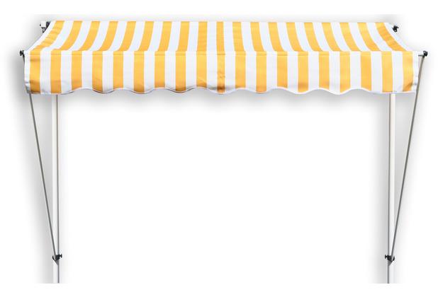 Grasekamp Klemmmarkise Ontario 255x130cm Gelb/Weiß  Balkonmarkise höhenverstellbar von 200  cm – 320 cm Gelb