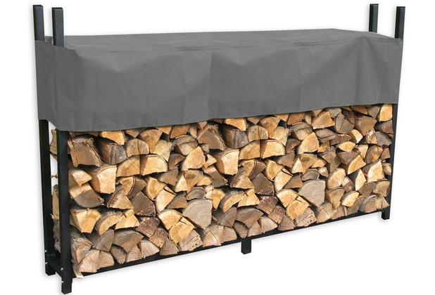 Grasekamp Metall Kaminholzregal 238 x 35 x 120 cm  1,4 RM mit Schutzhülle Grau Holzregal  Kaminholzunterstand Stapelhilfe Grau