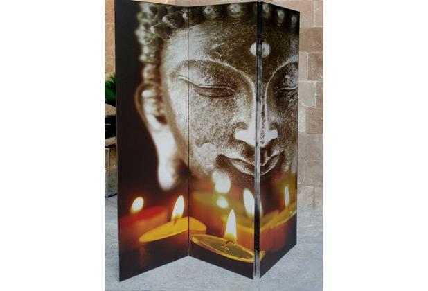 Grasekamp Paravent 3tlg Raumteiler Trennwand  Buddha II Bunt