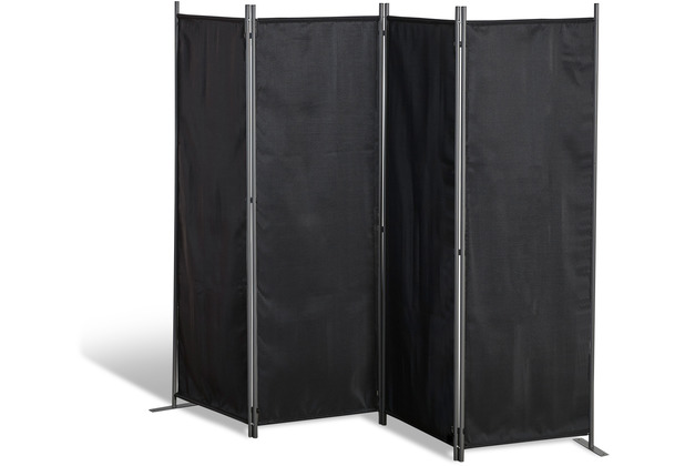 Grasekamp Paravent 4 teilig Schwarz Raumteiler  Trennwand Sichtschutz Balkontrennung Schwarz