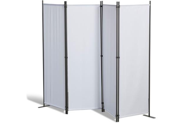 Grasekamp Paravent 4 teilig Weiß Raumteiler  Trennwand Sichtschutz Balkontrennung Weiß