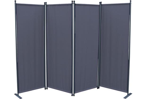 Grasekamp Paravent 4tlg Raumteiler Trennwand  Sichtschutz Grau Grau