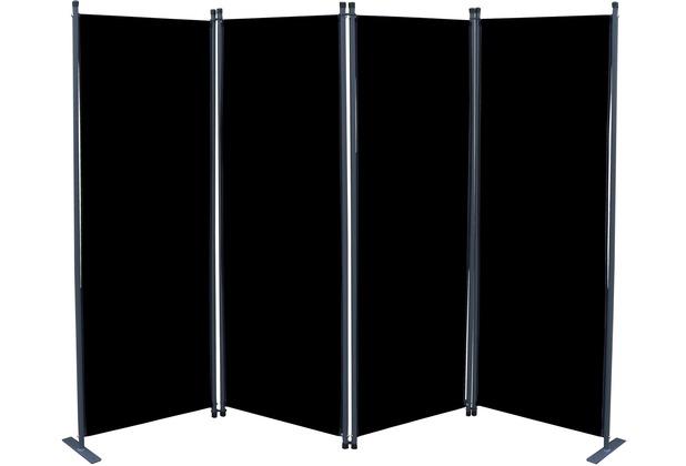 Grasekamp Paravent 4tlg Raumteiler Trennwand  Sichtschutz Schwarz Schwarz