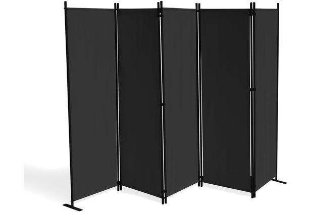 Grasekamp Paravent 5 teilig Schwarz 268 x 167 cm  Raumteiler Trennwand Sichtschutz Schwarz
