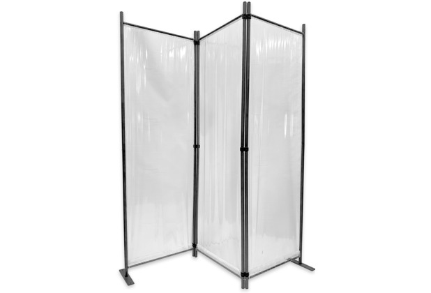 Grasekamp Paravent 165x170cm - 3tlg. transparent -  Paravent Raumteiler Trennwand  Sichtschutz Transparent