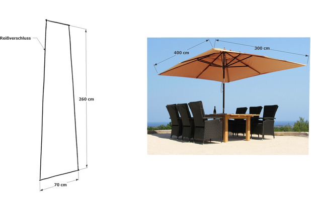 Grasekamp Schirmhülle 260x70cm Polyethylen mit Reißverschluss und Montagestab Transparent