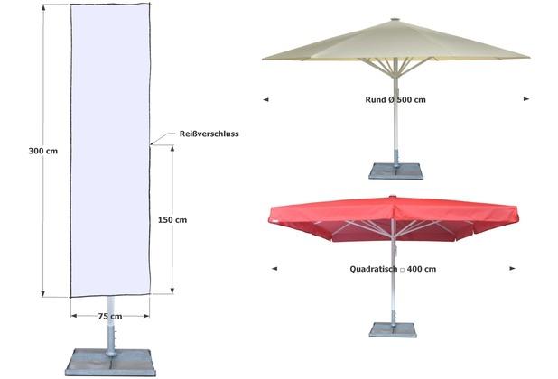 Grasekamp Schirmhülle Sonnenschirme bis Ø 500cm  Weiß Montagestange Reißverschluss  Abdeckplane Weiß