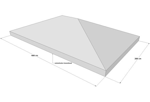 Grasekamp Schutzhaube 3 x 4 m für Pavillon  Abdeckplane Plane Regenschutz transparent