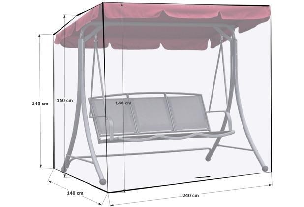 Grasekamp Schutzhülle Gartenschaukel 240x140x145cm  Italia Weiß Schutzhaube Abdeckung  Hollywoodschaukel Weiß