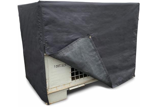 Grasekamp Schutzhülle Gitterbox 125x85x95cm mit RV Polyester 600D Schwarz schwarz