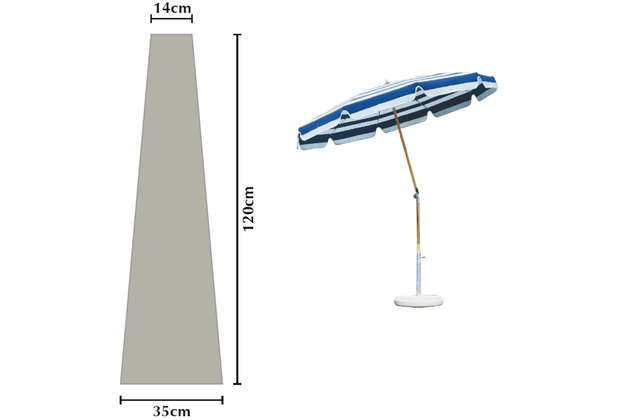 Grasekamp Schutzhülle Sonnenschirm Länge 120 cm Plane Schutzhaube Weiß Weiß