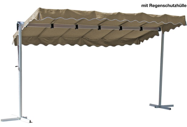 Grasekamp Standmarkise Dubai Beige 375 x 225 cm  mit Schutzhülle Terrassenüberdachung  Raffmarkise Mobile Markise Ziehharmonika Sand