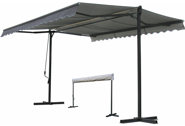 Grasekamp Stand Markise 3x4m Platingrau mit  Schutzhülle Terrassenüberdachung London Grau