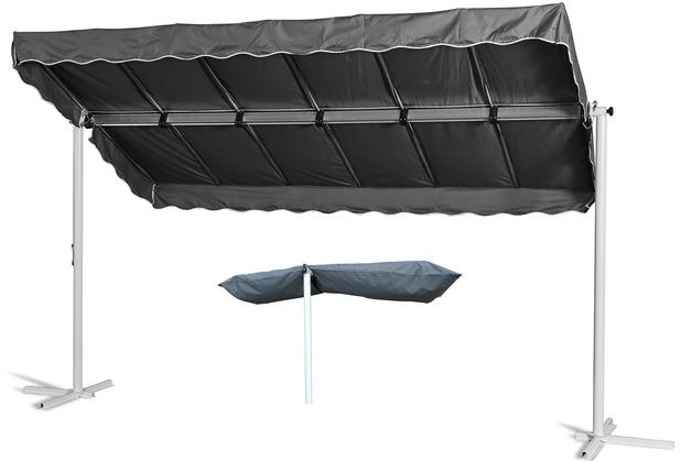 Grasekamp Standmarkise Dubai Grau 375 x 225 cm mit  Schutzhülle Terrassenüberdachung  Raffmarkise Mobile Markise Ziehharmonika Grau RAL 7043