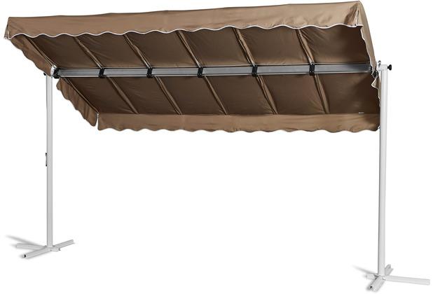 Grasekamp Standmarkise Dubai Taupe 375 x 225 cm  Terrassenüberdachung Raffmarkise Mobile  Markise Taupe RAL 7006