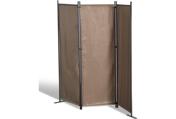 Grasekamp Stellwand 165x170 cm dreiteilig - taupe  -  Paravent Raumteiler Trennwand  Sichtschutz Taupe