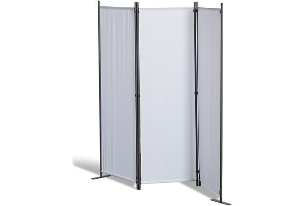 Grasekamp Stellwand 165x170 cm dreiteilig - weiß - Paravent Raumteiler Trennwand Sichtschutz Weiß