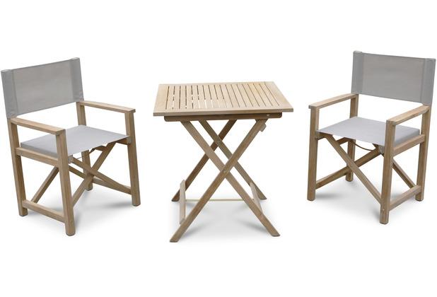 Grasekamp Teak Balkonset 3 teilig bestehend aus 2 Regie Klappsessel und 1 Garten Klapptisch 70 x 70 cm Sitzgruppe Braun