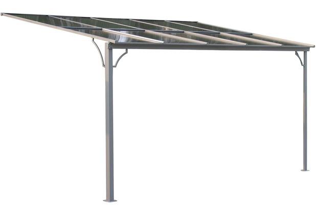 Grasekamp Terrassendach Hardtop 360x300cm Verona  Doppelstegplatten Polycarbonat  Hohlkammerplatte Grau RAL 7012