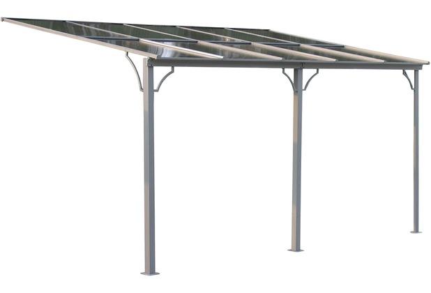 Grasekamp Terrassendach Hardtop 450x300cm Verona  Doppelstegplatten Polycarbonat  Hohlkammerplatte Grau RAL 7012