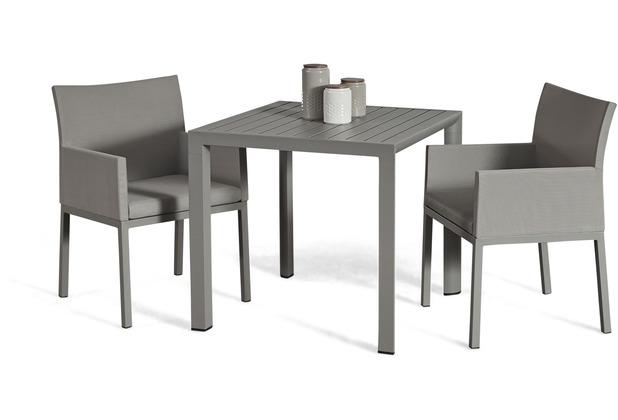 Grasekamp Terrassenset Sol 3 teilig - Tisch und 2x Sessel aus Aluminium/Textilene Lichtgrau