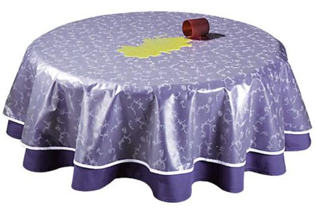 Grasekamp Tischdeckenschoner PVC Folie 160x210cm  Oval Transparent mit weißem Blumenaufdruck