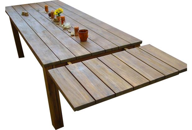 Grasekamp Tischverlängerung 50 x 90 cm zu  Gartentisch Korsika 160 x 90 cm Akazie  rustikal braun