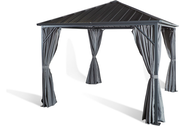 Grasekamp Wellenplatten Pavillon 3x3m mit 2 Seitenteil Sets Grau Hardtop Profilplatten extrastabil Grau