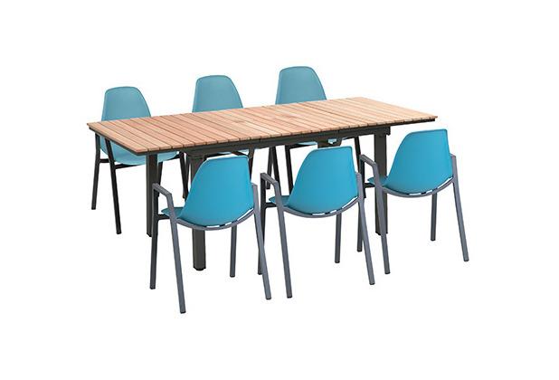 Greemotion Dining Set Mackay, 160/220 x 74 x 90 cm, petrol