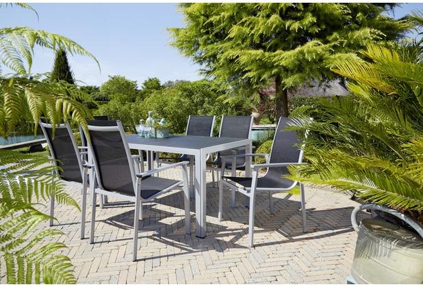 Greemotion Gartentischgruppe Monza 7 tlg. III silber/schwarz/Spraystone