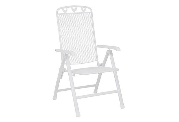 Greemotion Klappstuhl Toulouse, 58 x 108 x 64 cm, weiß, verstellbar