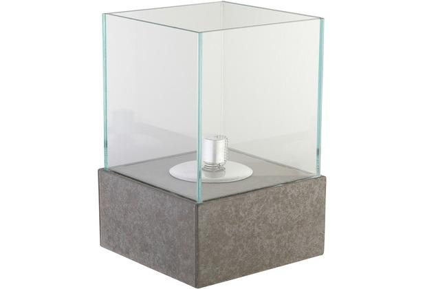 Greemotion Öllampe grau,Faserzement mit Glasaufsatz