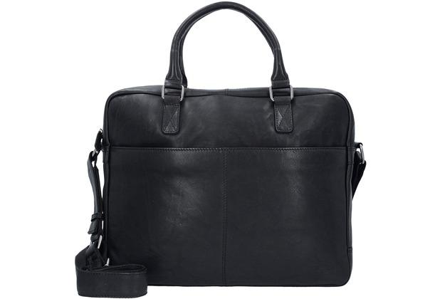 Greenburry Oily Tumbled Aktentasche Leder 40 cm Laptopfach black