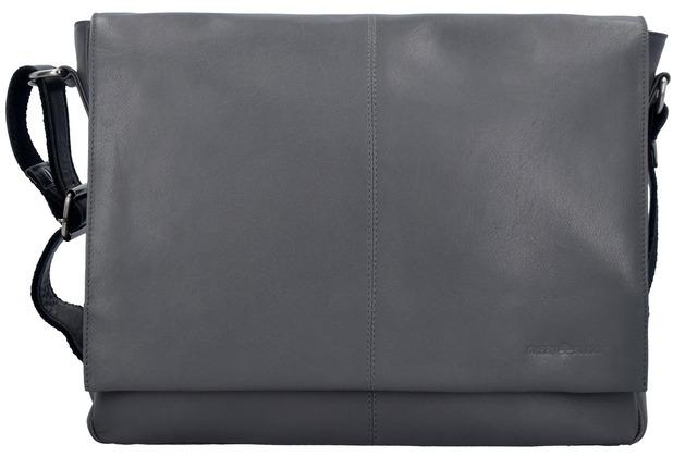 Greenburry Pure A4 Messenger Bag Leder 37 cm Laptopfach grey