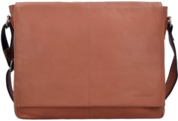 Greenburry Pure A4 Messenger Bag Leder 37 cm Laptopfach tan
