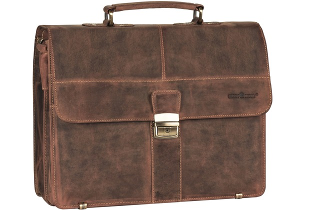 Greenburry Vintage Aktentasche Leder 38 cm mit 2 Hauptfächern brown