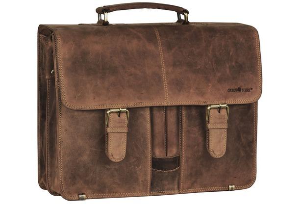 Greenburry Vintage XL Aktentasche Leder 40 cm Laptopfach mit 2 Hauptfächern und Frontstiftelaschen brown