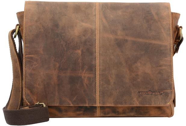 Greenburry Vintage Messenger Umhängetasche Leder 33 cm brown