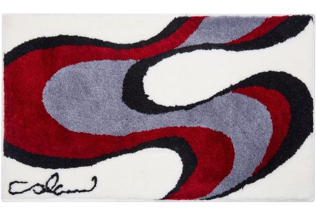 Colani 11 Badteppich weiss-rot 60 cm x 100 cm