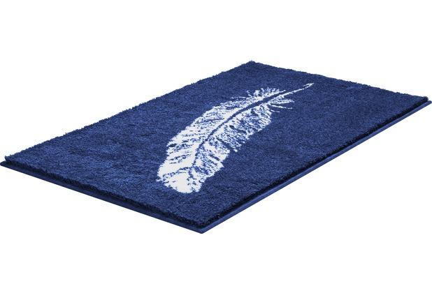 GRUND PIUME Badteppich Blau 50 x 60 cm WC-Vorleger ohne Ausschnitt