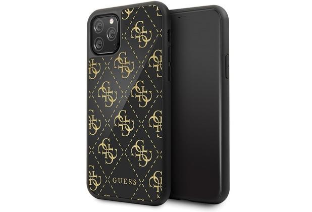 Guess 4G Dobble Layer Glitter Case - Apple iPhone 11 Pro - Schwarz - Cover - Schutzhülle