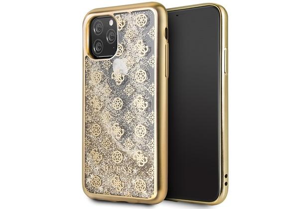 Guess 4G Peony Liquid Glitter Case - Apple iPhone 11 Pro Max - Gold - Cover - Schutzhülle